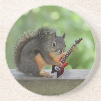 Squirrel Playing Electric Guitar Drink Coaster