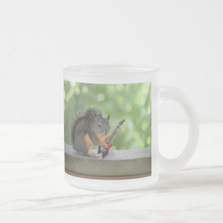 Squirrel Playing Electric Guitar Frosted Glass Coffee Mug