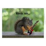 Squirrel Playing Electric Guitar Greeting Cards