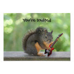 Squirrel Playing Electric Guitar 5x7 Paper Invitation Card