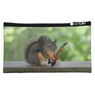 Squirrel Playing Electric Guitar Makeup Bag
