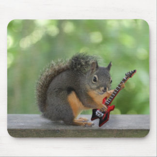 Squirrel Playing Electric Guitar Mouse Pad