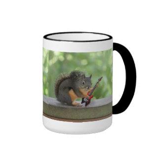 Squirrel Playing Electric Guitar Ringer Coffee Mug