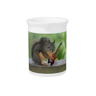 Squirrel Playing Electric Guitar Beverage Pitcher