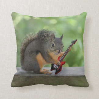 Squirrel Playing Electric Guitar Throw Pillow