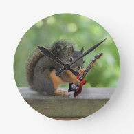 Squirrel Playing Electric Guitar   Wallclock