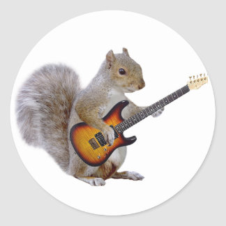 Squirrel Playing Guitar Classic Round Sticker