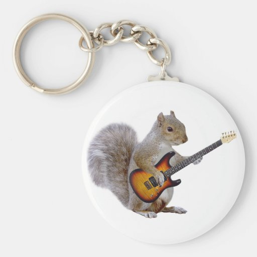Squirrel Playing Guitar Key Chain