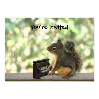 Squirrel Playing Piano 5x7 Paper Invitation Card