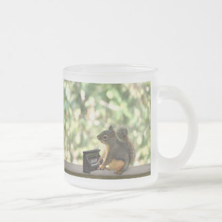 Squirrel Playing Piano Frosted Glass Coffee Mug