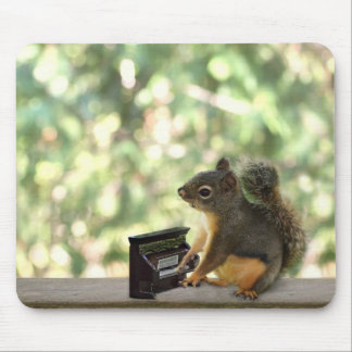Squirrel Playing Piano Mouse Pad