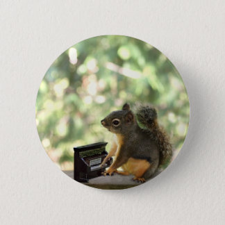 Squirrel Playing Piano Pinback Button