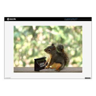 """Squirrel Playing Piano 15"""" Laptop Skin"""