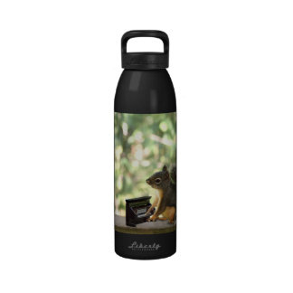Squirrel Playing Piano Reusable Water Bottle