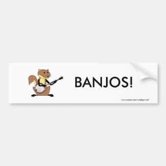 Squirrel Playing the Banjo Bumper Sticker