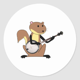 Squirrel Playing the Banjo Classic Round Sticker
