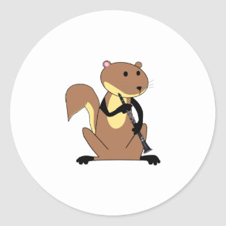 Squirrel Playing the Clarinet Classic Round Sticker