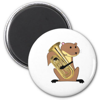 Squirrel Playing the Euphonium 2 Inch Round Magnet