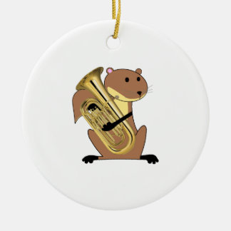 Squirrel Playing the Euphonium Ceramic Ornament