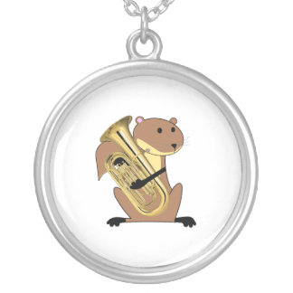 Squirrel Playing the Euphonium Round Pendant Necklace