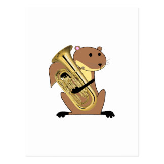Squirrel Playing the Euphonium Postcard