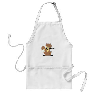 Squirrel Playing the Flute Adult Apron