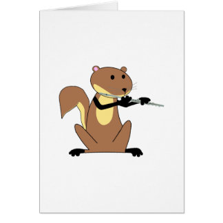 Squirrel Playing the Flute Card