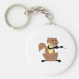 Squirrel Playing the Flute Key Chains