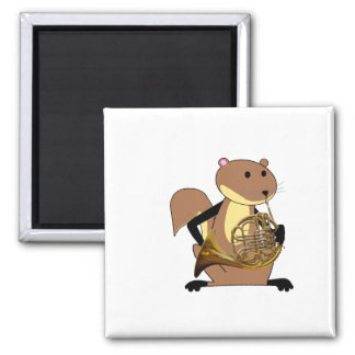 Squirrel Playing the French Horn 2 Inch Square Magnet