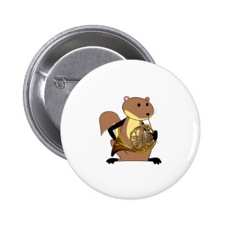 Squirrel Playing the French Horn Pinback Button