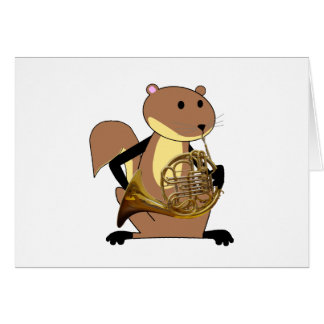 Squirrel Playing the French Horn Card