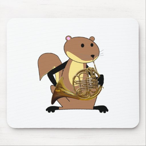 Squirrel Playing the French Horn Mouse Pads