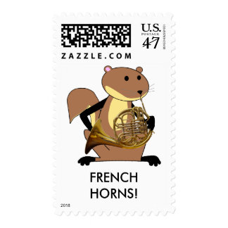 Squirrel Playing the French Horn Stamp
