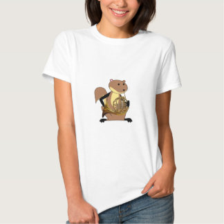 Squirrel Playing the French Horn Tshirts