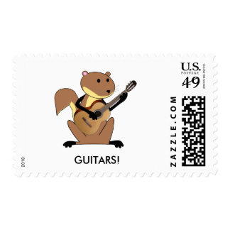 Squirrel Playing the Guitar Postage