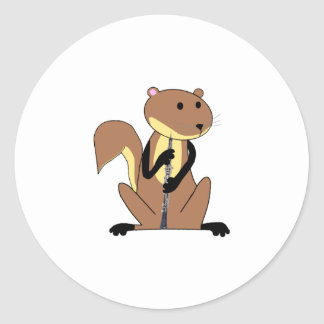 Squirrel Playing the Oboe Classic Round Sticker