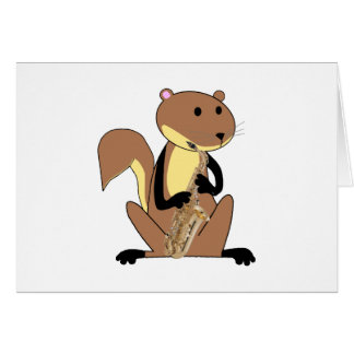 Squirrel Playing the Saxophone Card