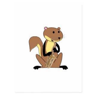 Squirrel Playing the Saxophone Postcard