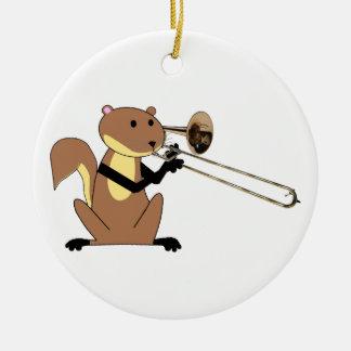 Squirrel Playing the Trombone Ceramic Ornament