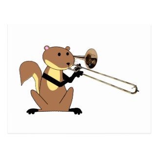 Squirrel Playing the Trombone Postcard