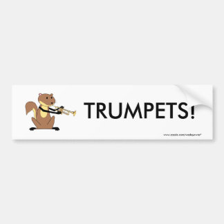 Squirrel Playing the Trumpet Bumper Sticker