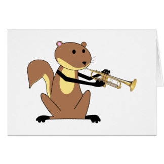 Squirrel Playing the Trumpet Card