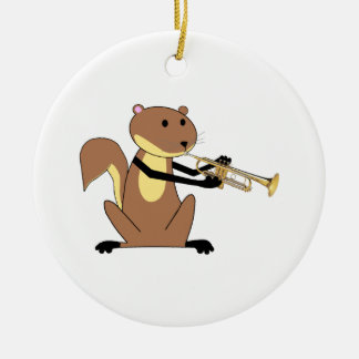 Squirrel Playing the Trumpet Ceramic Ornament