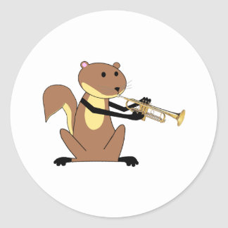 Squirrel Playing the Trumpet Classic Round Sticker