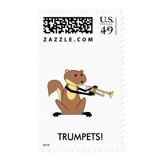 Squirrel Playing the Trumpet Postage