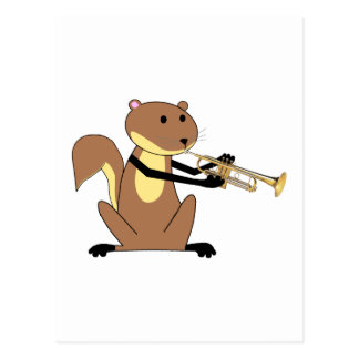 Squirrel Playing the Trumpet Postcard
