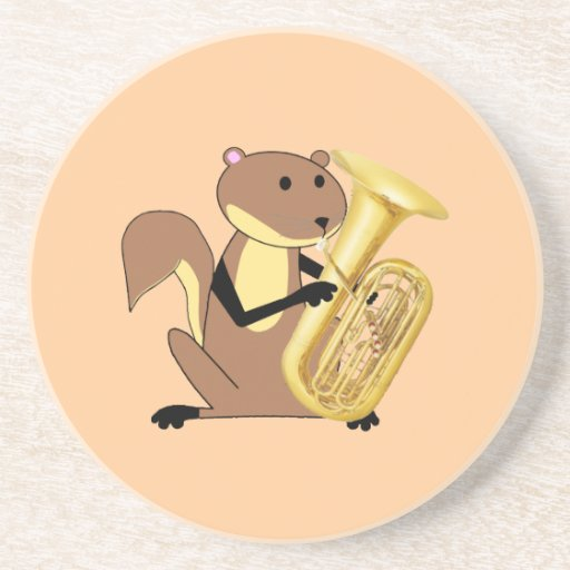 Squirrel Playing the Tuba Drink Coaster