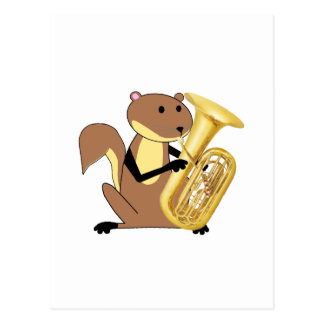 Squirrel Playing the Tuba Postcard