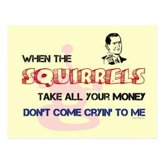 Squirrel Poker Postcard