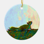squirrel psychadelic photo christmas tree ornament